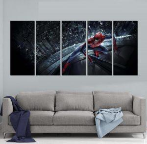 картина от 5 части; картина от пет части; картина от три части; картина от части; Картина Спайдърмен; Марвел комикст; супергерой; комикс герой; детска картина; картина; картина на PVC; картина на канава; картина с висока резолюция; висококачествен печат; декорация за стена; декоративно пано; картина за детска стая;