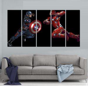 картина от 5 части; картина от пет части; картина от сектори; картина от части; картина супергерои Марвел; картина супергерои; Капитан Америка; Железния човек; супергерой; комикс герой; Марвел комикст; Марвел гражданска война; Марвел герои; канава; канаваца; картина на канава; pvc пано; картина с висока резолюция; висококачествен печат; декоративно пано; декорация за стена;