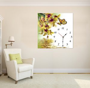 картина с висока резолюция; картина с часовник; картина с часовников механизъм; картина часовник; картина с цветя; картина с пеперуди; декоративно пано; декорация за стена; картина с часовник цветя, висококачествен печат;