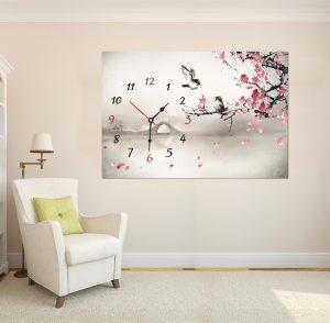 картина с часовник; картина часовник; картина с часовников механизъм; картина азия; азиатска картина; картина природа; картина птички; канава; канаваца; картина на канава; висококачествен печат; картина с висока резолюция; декоративно пано; картина с часовник Азия, декорация за стена;