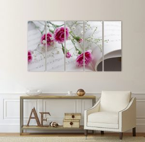 картина от 5 части; картина от пет части; картина от сектори; картина от части; картина карамфили; цветна композиция; картина с цветя; цветна картина; картина на PVC; картина на канава; картина с висока резолюция; висококачествен печат; декоративно пано; декорация за стена; канава; канаваца;