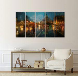 картина от 5 части; картина от пет части; картина от сектори; картина от части; Санкт Петергбург; абстрактна картина; Русия; буря; картина буря; картина с висока резолюция; канава; канаваца; картина на канава; pvc пано; висококачествен печат; декоративно пано; декорация за стена; градска забележителност; градски пейзаж; Санкт Петербург, нощен градски пейзаж;