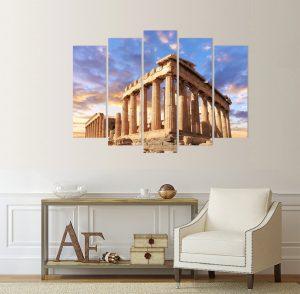 картина от 5 части; картина от пет части; картина от сектори; картина от части; картина Акропола; Акропола Атина; пантеона на Атина; Гърция; забележителност; Картина световни забележителности; световни забележителности; гръцки забележитености; гледки Гърция; древна гърция; канава; канаваца; картина на канава; pvc пано; висококачествен печат; картина с висока резолюция; декоративно пано; декорация за стена;