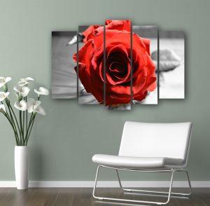 картина от 5 части; картина от пет части; картина от сектори; картина от части; картина роза; картина с висока резолюция; картина с цветя; черно червена картина; черно червено пано; червена роза; канава; канаваца; картина на канава; pvc пано; декоративно пано; декорация за стена; висококачествен печат;