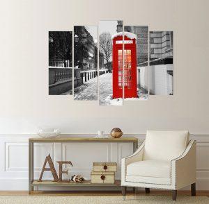 картина от 5 части; картина от пет части; картина от части; картина от сектори; телефонна кабина; телефонна бутка; картина телефонна кабина; картина черно и червено; черно и червено пано; черно червено пано; картина Лондон; картина англия; картина грдски пейзаж; градски пейзаж; декоративно пано; декорация за стена; висококачествен печат; картина с висока резолюция;