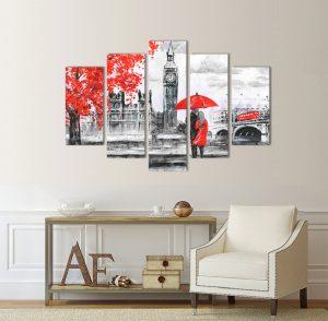 картина от 5 части; картина от пет части; картина от сектори; картина от части; картина Лондон репродукция; картина лондон; картина репродукция; репродукция; картина черно и червено; черно и червено пано; картина влюбени в Лондон; канава; канаваца; картина на канава; декоративно пано; декорация за стена; висококачествен печат; картина с висока резолюция;