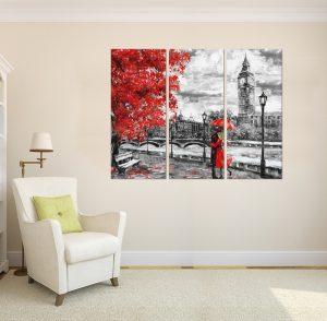 картина от 3 части; картина от сектори; картина от три части; картина от части; картина влюбени под дъжда; картина влюбени в Лондон; влюбени в Лондон; лондон; канава; канаваца; картина на канава; картина черно и червено; черно и червено пано; черно червено пано; декоративно пано; декорация за стена; висококачествен печат; картина с висока резолюция; картина;