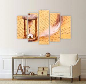 картина от 5 части; картина от пет части; картина от сектори; картина от части; картина пясъчен часовник; картина винтидж; винтидж картина; перо; ръкопис; канава; канаваца; картина на канава; pvc пано; декоративно пано; декорация за стена; висококачествен печат; картина с висока резолюция;
