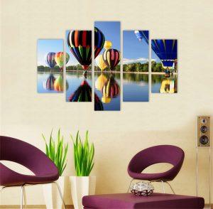 картина от 5 части; картина от пет части; картина от сектори; картина от части; картина; картина балони; картина летателни балони; летателни балони; цветни балони; природен пейзаж; картина природа; природа; канава; канаваца; картина на канава; pvc пано; декоративно пано; декорация за стена; висококачествен печат; картина с висока резолюция;