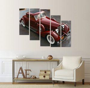 картина от 5 части; картина от пет части; картина от сектори; картина от части; ретро автомобил; ретро кола; картина с автомобили; червена кола; автомобил; кола; картина; канава; канаваца; картина на канава; pvc пано; декоративно пано; декорация за стена; висококачествен печат; картина с висока резолюция; картинни пана; картинно пано;