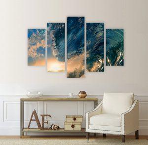 картина от 5 части; картина от пет части; картина от сектори; картина от части; картина океан; картина вълни; къртина сърфинг; картина слънце; тропически пейзаж; тропически вълни; картина; картинно пано; пано; канава; канаваца; картина на канава; декоративно пано; декорация за стена; pvc пано; висококачествен печат; картина с висока резолюция;
