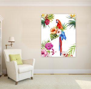 папагал Макао; тропическа картина; тропически цветя; тропическа композиция; картина с автомобили; картина животни; картина с животни; декоративно пано; декорация; декорация за стена; висококачествен печат; картина с висока резолюция; канава; канаваца; картина на канава;