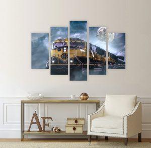 картина от 5 части; картина от пет части; картина влак; картина локомотив; абстрактен пейзаж; влак; локомотив; декоративни пана; декоративно пано; декорация; декорация за стена; картина; канава; канаваца; картина на канава; pvc пано; висококачествен печат;