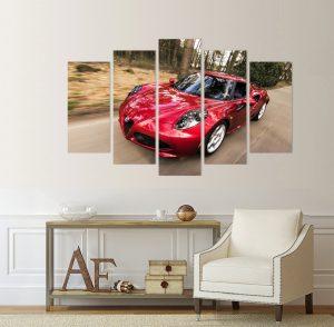 картина от 5 части; картина от пет части; картина от сектори; картина от части; спортен автомобил; картина спортен автомобил; червена спортна кола; картина с кола; канава; канаваца; картина на канава; pvc пано; декоративни пана; декоративно пано; декорация за стена; висококачествен печат; картина с висока резолюция; дървена подрамка; картина; картина кола;