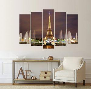 картина от 5 части; картина от пет части; картина от сектори; картина от части; Айфелова кула; картина Айфелова кула; картина Париж; Париж; нощен Париж, градски пейзаж; канава; канаваца; картина на канава; pvc пано; декоративни пана; декоративно пано; декорация за стена; висококачествен печат; картина с висока резолюция; нощен градски пейзаж;