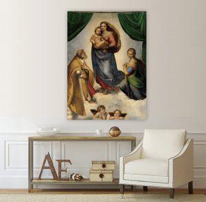 Сикстинската мадона; Рафаело; картина Сикстинската мадона -Рафаело; картина репродукция; класическа картина; канава; канаваца; картина на канава; декоративно пано; декорация; декорация за стена; висококачествен печат; картина с висока резолюция; картина;