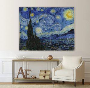 Звездна нощ; картина Звездна нощ- Винсент ван Гог; Винсент ван Гог; картина; канава; канаваца; картина на канава; класическа картина; декоративно пано; декорация; декорация за стена; висококачествен печат; картина с висока резолюция;