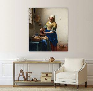 Млекарката, Вемеер, Йоханес Вермеер, Вермеер - Млекарката, Репродукция, репродукция Вермер, Вермер, Йохан Вермер, Картина, картинно пано, картина на канава, канава, канаваца, картина на платно,класияеска картина, репродукция на картина, Млекарката - Вермеер, картина на канава