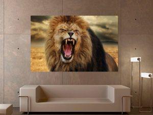 картина ревящ лъв; картина с животни; картина лъв; канава; канаваца; картина на канава; картина на PVC; картина на платно; дървена подрамка; висококачествен печат; картина с висока резолюция; декоративни пана; декоративно пано; декорация; декорация за стена;