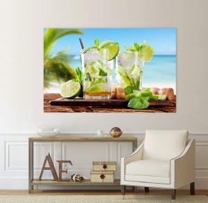 Картина коктейли; летни морски пейзажи; коктейл на плажа; картина коктейл на плажа; картина с напитки; канава; канаваца; картина на канава; морски пейзаж; картина на PVC; декоративни пана; декоративно пано; декорация; декорация за стена; висококачествен печат; картина с висока резолюция;
