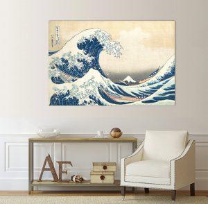 Голямата вълна на Канагава; картина Голямата вълна на Канагава; Голямата вълна на Канагава от Хокусай; Репродукция на Хокусай; Хокусай картина; репродукция; канава; канаваца; картина на канава; декоративно пано; декорация; декорация за стена; висококачествен печат; картина с висока резолюция;