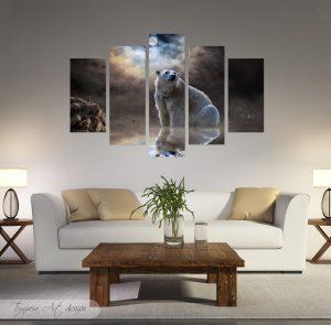 полярна мечка; картина полярна мечка; бяла мечка; абстрактен природен пейзаж; картина с животни; декоративно пано; декорация; декорация за стена; канава; картина на канава; картина на PVC; картина на платно; дървена подрамка; висококачествен печат; картина с висока резолюция; картина; картина от 5 части; картина от пет части; картина от сектори; картина от части;