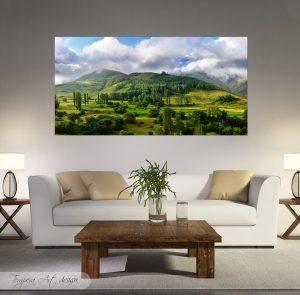 зелена планина; картина зелена планина; природен пейзаж; картина природа; природа; декоративно пано; декорация; декорация за стена; висококачествен печат; картина с висока резолюция; канава; картина на канава; картина на PVC; картинно пано; дървена подрамка;
