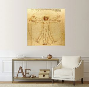 Витрувиански човекр картина Витрувиански човек; Леонардо да Винчи; канава; дървена рамка; дървена подрамка; картина;