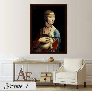 Дамата с хермелина; картина Дамата с хермелина; Леонардо да Винчи; репродукция; канава; картина; дървена подрамка; висококачествен печат; декоративно пано; дървена рамка; тъмно кафява рамка със златист кант;