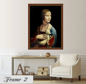 Дамата с хермелина; картина Дамата с хермелина; Леонардо да Винчи; репродукция; канава; картина; дървена подрамка; висококачествен печат; декоративно пано; дървена рамка; кафява; кафява рамка със златист кант;