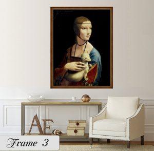 Дамата с хермелина; картина Дамата с хермелина; Леонардо да Винчи; репродукция; канава; картина; дървена подрамка; висококачествен печат; декоративно пано; едноцветна кафява рамка; кафява едноцветна рамка; кафява рамка едноцветна;