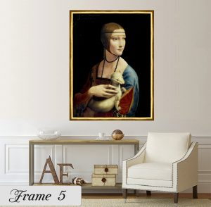 Дамата с хермелина; картина Дамата с хермелина; Леонардо да Винчи; репродукция; канава; картина; дървена подрамка; висококачествен печат; декоративно пано; златиста едноцветна рамка; златиста рамка;