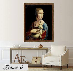 Дамата с хермелина; картина Дамата с хермелина; Леонардо да Винчи; репродукция; канава; картина; дървена подрамка; висококачествен печат; декоративно пано; кафява рамка с дърворезба;
