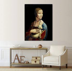 Дамата с хермелина; картина Дамата с хермелина; Леонардо да Винчи; репродукция; канава; картина; дървена подрамка; висококачествен печат; декоративно пано