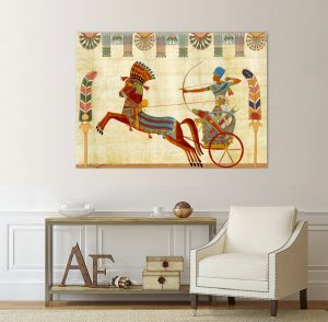 Египетски стенопис египетска картина; египетски папирус; египетски рисунки; канава; картина; висококачествен печат; картина с висока резолюция; декоративно пано; декорация; декорация за стена; дървена кафява рамка с дърворезба; дървена подрамка;