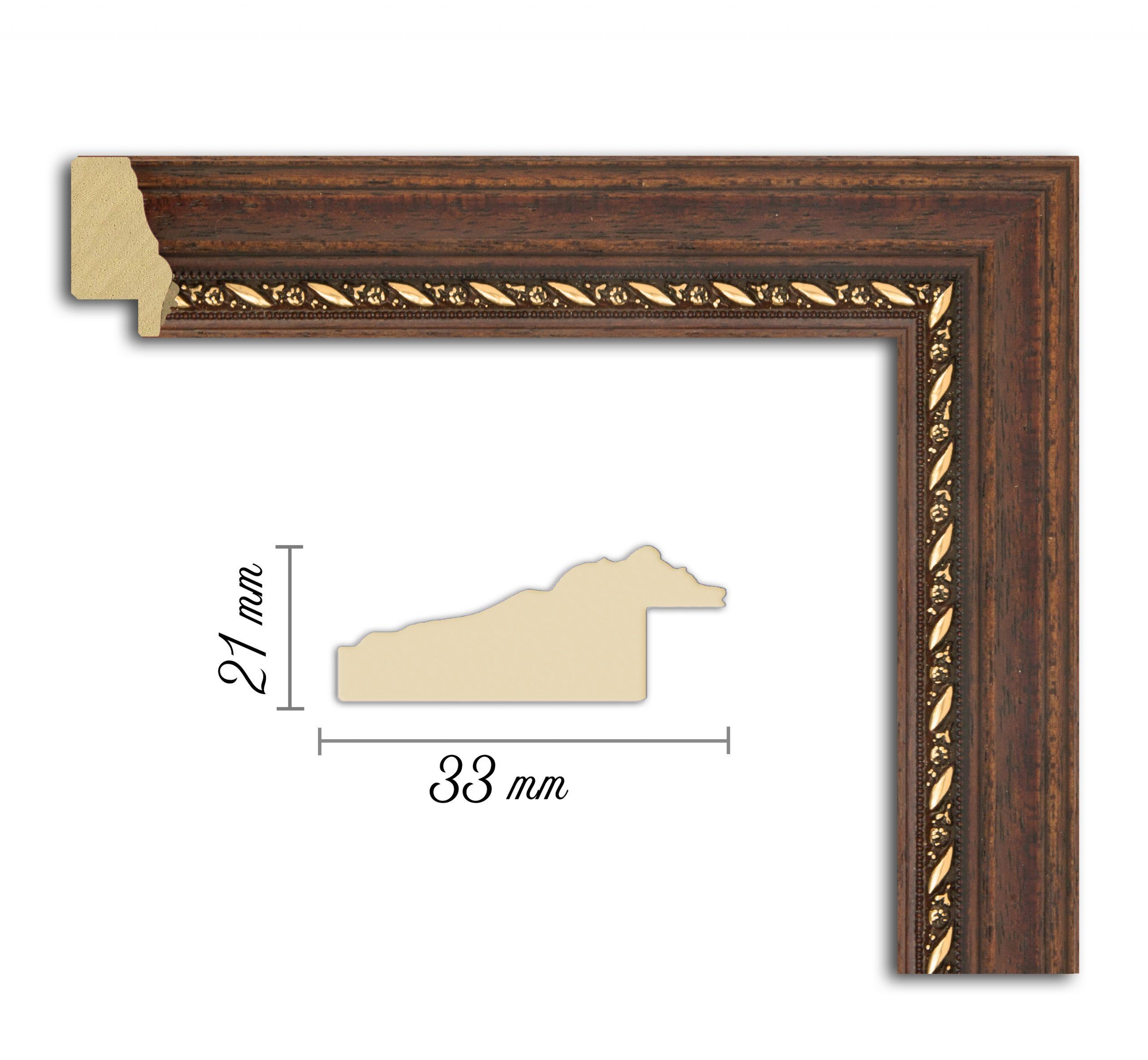 Дървен профил 06-33, Дървени профили за рамки, рамкиране, рамки за картини, рамки за гоблени, профили за рамки, профили за рамкиране, рамки от дърво, дървени рамки, профили за рамки, профили за рамкране, рамкиране на картини; рамка със златен кант, кафява и златна рамка, рамка с орнаменти, кафява рамка;