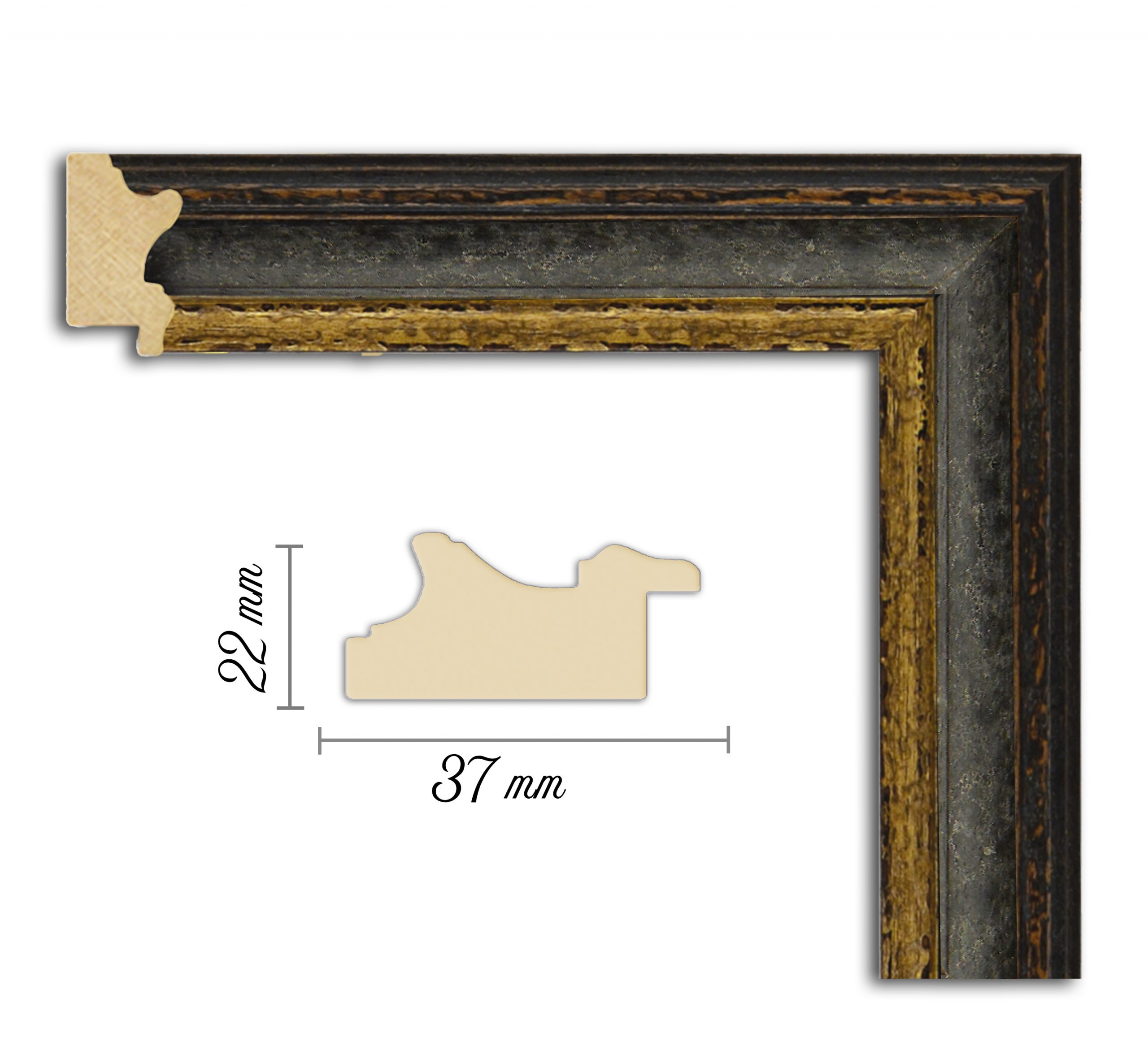Дървен профил 09-37, Дървени профили за рамки, рамкиране, рамки за картини, рамки за гоблени, профили за рамки, профили за рамкиране, рамки от дърво, дървени рамки, профили за рамки, профили за рамкране, рамкиране на картини; рамка платинена, черен профил за рамка, черно и златно рамка, рамка черно със златно, черно и златно рамка; Рамка черна и златна, профил за рамка черен, старинен профил за рамка